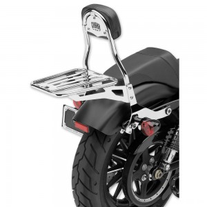 "Cobra Chrome Quick Detachable 14"" Round Bar Sissy Bar with Backrest - 602-2005 