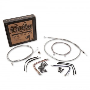 "Burly Brand Braided Stainless 18"" Ape Hanger Cable/Brake/Wiring Kit - B30-1057 | |  Hot Sale"