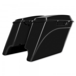 HogWorkz 4″ Vivid Black Extended Saddlebags with Dual Cut-Out - HW149008      Hot Sale