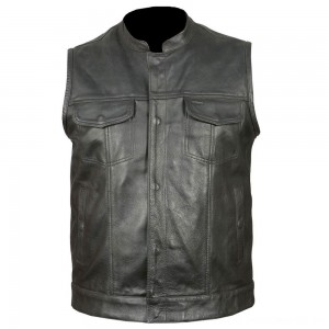 Vance Leathers Men's Classic Club Black Leather Vest - VL914-LG | |  Hot Sale