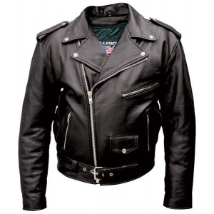 Allstate Leather Inc. Men's Tall Black Buffalo Leather Motorcycle Jacket - AL2017-48 | |  Hot Sale