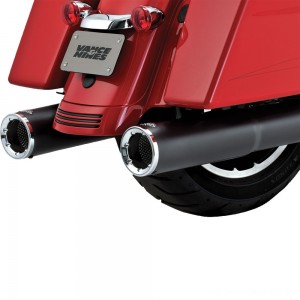 Vance & Hines Hi Output Slip Ons Black with Chrome End Caps - 46463 | |  Hot Sale