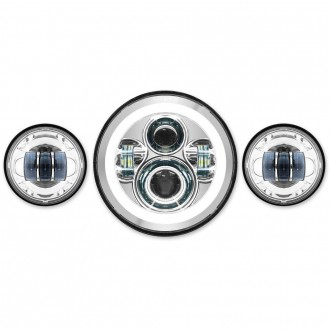 "HogWorkz LED 7"" Chrome HaloMaker Headlight with Auxiliary Passing Lamps - HW167004-HW195203 