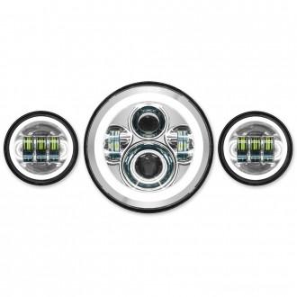 HogWorkz LED Chrome HaloMaker Headlight with Auxillary Halo Passing Lamps - HW167004-HW195205      Hot Sale
