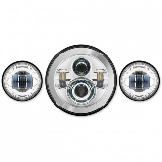 "HogWorkz LED Chrome 7"" Daymaker Headlight Lighting Kit with Auxiliary Passing Lamps - HW195001-HW195203 