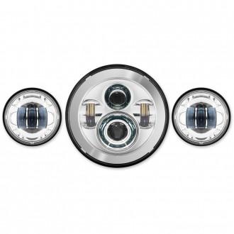 "HogWorkz LED Chrome 7"" Daymaker Headlight Lighting Kit with Auxiliary Passing Lamps - HW195001-HW195203      Hot Sale"