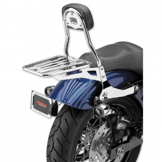 "Cobra Chrome Quick Detachable 14"" Round Bar Sissy Bar with Backrest - 602-2004 