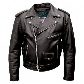 Allstate Leather Inc. Men's Black Buffalo Leather Motorcycle Jacket - AL2010-46 | |  Hot Sale