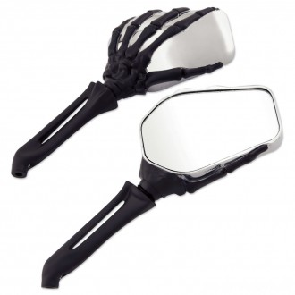 Milwaukee Twins Chrome and Black Hand Bone Mirrors - 18-368 | |  Hot Sale