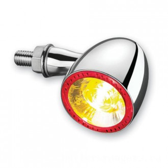 Kuryakyn by Kellermann Chrome Bullet 1000 Red/Red/Amber Turn Signal - 2554 | |  Hot Sale