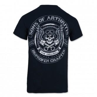 Sons of Arthritis Men's Skulls & Pistons Black T-Shirt - 186      Hot Sale
