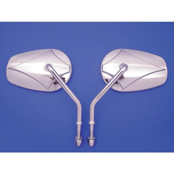 V-Twin Manufacturing Teardrop Short Stem Mirror Set - 34-0391      Hot Sale