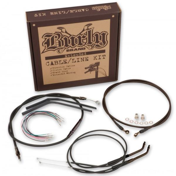 "Burly Brand Black 16"" Ape Hanger Cable/Brake Kit - B30-1013      Hot Sale"