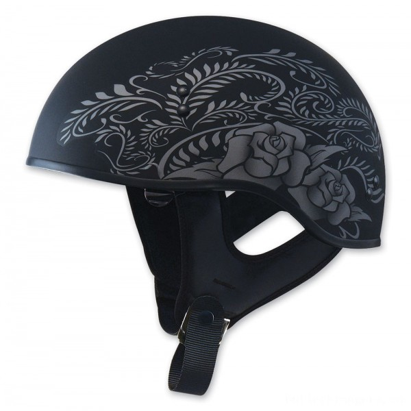 GMAX HH-65 Naked Rose Flat Black/Silver Half Helmet - 72-5637S | |  Hot Sale