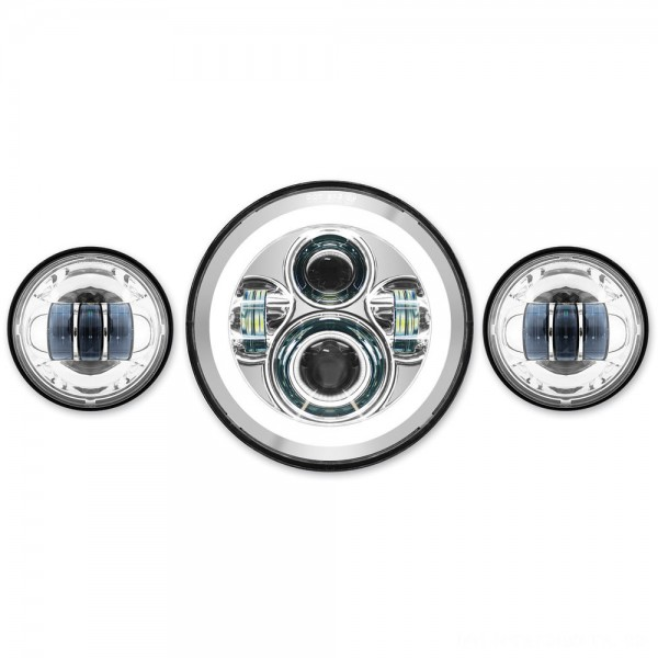 """HogWorkz LED 7"""" Chrome HaloMaker Headlight with Auxiliary Passing Lamps - HW167004-HW195203 
