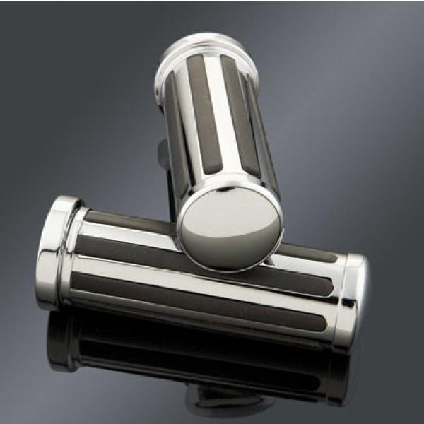 J&P Cycles Custom Black/Chrome Grip Set | |  Hot Sale