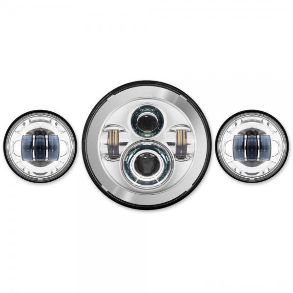 "HogWorkz LED Chrome 7"" Daymaker Headlight Lighting Kit with Auxiliary Passing Lamps - HW195001-HW195203 | |  Hot Sale"