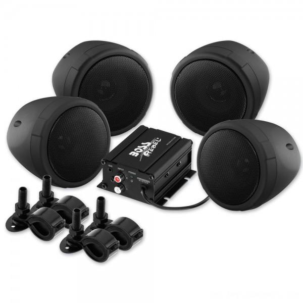 "Boss Audio Systems 1000 Watt Bluetooth 3"" Black Speaker Kit - MCBK470B | |  Hot Sale"