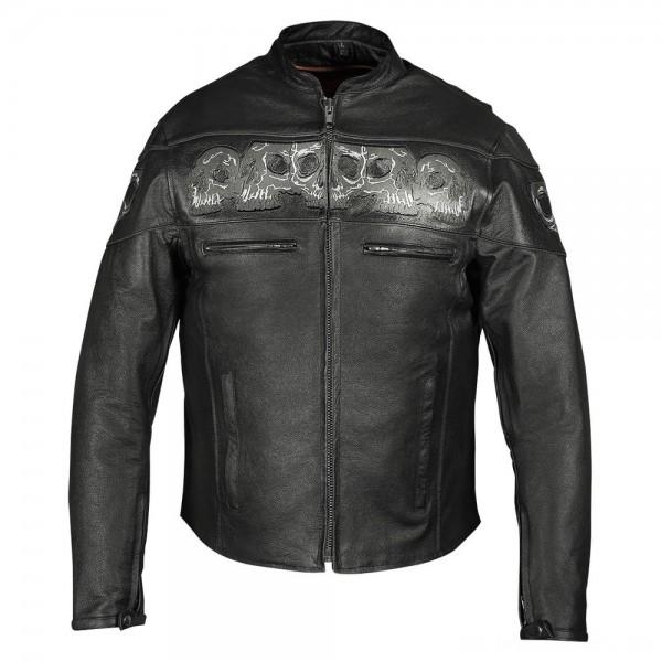 Vance Leathers Men's Reflective Skulls Black Leather Jacket - VL535-XL | |  Hot Sale