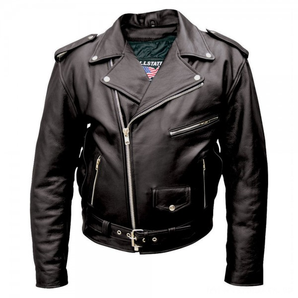 Allstate Leather Inc. Men's Black Buffalo Leather Motorcycle Jacket - AL2010-46 | |  Hot Sale