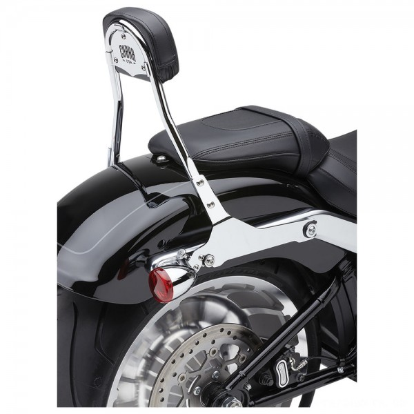 "Cobra Chrome Quick Detachable 14"" Round Bar Sissy Bar with Backrest - 602-2007 