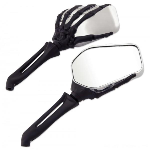 Milwaukee Twins Chrome and Black Hand Bone Mirrors - 18-368 | |  Hot Sale