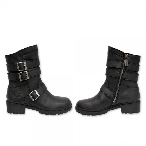 Milwaukee Motorcycle Clothing Co. Women's Cameo Black Leather Boots - MB 25318 | |  Hot Sale