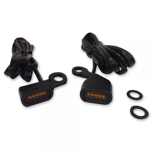 Drag Specialties Black LED Handlebar Marker Lights with Amber Lens - 2040-2130 | |  Hot Sale